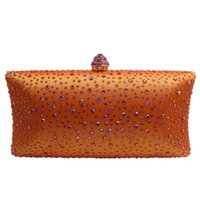Hot Orange Crystal Clutch Evening Clutch Bags para Womens Party Sacos de noite de cristal e embreagem de caixa Black / Green / Purple / Grey / Gold