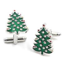 Wholesale Christmas Tree Cufflinks - Freeshipping Wholesale 20PCS Hansel Green Christmas Trees Crystal Cufflinks Charm Trend Fashion Cufflinks For Unique Men Jewelry