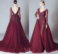 Wholesale Dress For Party Over - Fashion Burgundy Evening Dress 2017 New V neck Long Sleeves Beaded Appliques Lace Women Over skirt dubai arabic Formal Gown For Prom Party