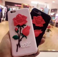 3D Rose flor Soft Silicone cell Case Gel Cover para iphone 7 7 Plus 6 6S Plus 5S SE goophone i7