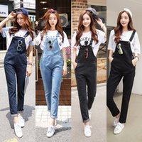 Wholesale Suspender Jeans Women - Wholesale- Spring Autumn Denim Jumpsuits Women Harem Jumpsuit Pants Ladies Loose Jeans Rompers Female Suspenders Big Size XXL XXXL