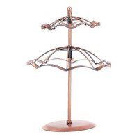 Wholesale Revolving Earring Display Stand Brown Jewelry rack Two Layer Display Stands Holder for necklace
