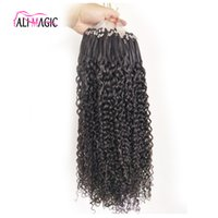 100g 1g / s Remy Human Kinky Curly Micro Ring Loop Extensions de cheveux Virgin Brazilian Hair Micro Bead Hair Extensions Natural Black