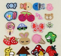 Wholesale Strawberry Iron Patch - NEW Iron On Patches DIY Embroidered Patch sticker For Clothing clothes Fabric Badges Sewing strawberry cherry lollipop design
