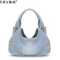 Wholesale Men S Messenger Handbag - Wholesale- New 2016 Women Bags Famous Brand Women 's Handbag Denim Messenger Bag Woman Tote Bags Ladies Diamond Trim Denim Handbag BWA0405