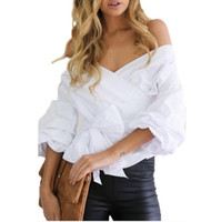 Wholesale Dotted Ladies Chiffon Tops - 2017 Sexy v-neck cross Bandage shirts Casual white long sleeve Blouses Women Autumn New off shoulder Lace Up Blusas Lady Cotton Tops