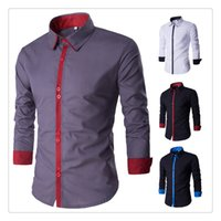 Wholesale Korean Mens Shirt Designed - Mens Shirts Cotton Korean Style Spring Fashion Hit Color Stitching Design Men's Casual Long Sleeved Simple Shirts US Size:XS-L