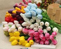 Wholesale Latex Tulips - Tulip Artificial Flower Latex Real Touch Bridal Wedding Bouquet Home Decor nosegay posy supply on sale G233