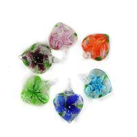 Wholesale Box Heart Designs - New Design Glaze Luminous Love Heart Lampwork Pendants with mix colors inner flower 12pcs box, MC0104