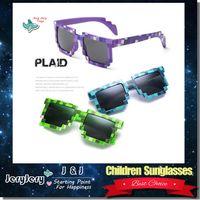 Wholesale Hd Girls - Children Boys Girls Kids Plaid Sunglasses Anti UV Sunshades Glasses Fashion Beach Eye Wear Radiation Protection HD Resin