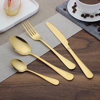 Wholesale Yellow Cutlery - Gold Cutlery spoon fork knife tea spoon Matte Gold Stainless Steel Food Silverware Dinnerware Utensil