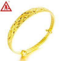 bracelet en or jaune pour homme achat en gros de-24 K Or Jaune Plaqué Bracelets Marque Nouvelle Mode Fine Bijoux Promotion Taille Réglable Pour Femmes Hommes Robes De Mariée Vente Chaude Livraison Gratuite