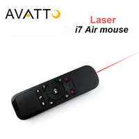 Wholesale flying laser - Wholesale- [AVATTO] i7 Laser Remote Control 2.4Ghz Wireless Mini Fly Air Mouse with Built-in 6 Axis for PC Smart tv Android Box PS3 Gamer