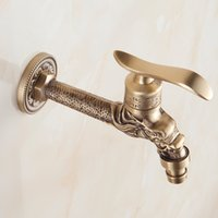 Wholesale Vintage Wall Mount Kitchen Faucet - Brass Laundry & Utility Faucets European Vintage Style Hot & Cold Hose Tap Faucet Kitchen Rest Room Faucet