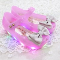 Wholesale High Heels Flashing - HOT sale 2017 New Arrivals mini melissa High Quality LED Light Girls Sandals Princess Bow Kids Jelly Shoes LED Flash Antiskid