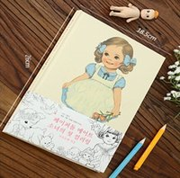 Wholesale Sweet Paper Doll - Wholesale- promotional gifts 260*185mm.retro Korea Sweet Doll Girl series Drawing book.Coloringbook.Children practice painting.retail great