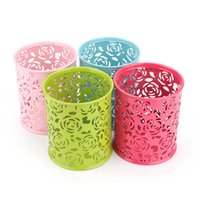 Wholesale Metal Flower Holders - 1Pcs Metal Hollow Rose Flower Design Cylinder Pen Pencil Pot Holder Makeup Brush Storage Vintage Women Makeup Holder