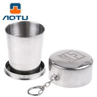 Wholesale Glass Retractable Folding - AOTU Stainless Steel Retractable Folding Portable Travel Drinking Cup With Keychain Folding Collapsible Cup 085