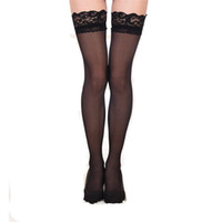 Wholesale Black Stockings Nylons - Wholesale- Black White Nude Sexy Ladies Women's Sheer Lace Sexy Top Stay Up Stocking Women Long Top Sheer Thigh High Stockings Nylon
