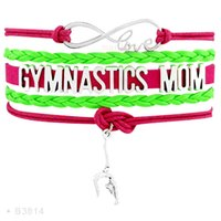 Wholesale Charms Gymnast - Infinity Love Gym Addict Gymnastics Mom Barbell Gymnast Charm Leather Bracelets For Women Turquoise Light Blue Gifts Jewelry