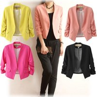 Wholesale Outerwear Blazers - Wholesale-New Spring 2017 Tops Blazer Women Candy Coat Short Jacket Outerwear Coats Jackets No Button Basic Suit Blazers