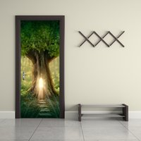 Wholesale Wall Decals Roads - 77*200cm 3D Fantasy Large Tree Door Mural Sticker 3D A Road Leads to the Inside of the Tree Magical Door Decal Home Decor for Living Room