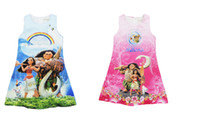 Wholesale Polyester Clothing Wholesale - 2 color Moana Dress Sleeveless MOAMA Polyester Cotton Children Summer Clothing Baby Clothes 2-8T XT