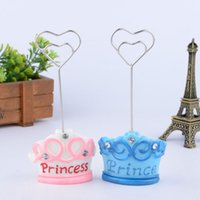 Wholesale Wedding Table Numbers Pink - Blue Pink Crown Prince Princess Name Number Table Place Card Holder Wedding Party Favor Wedding Decoration ZA3561