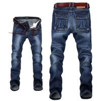 брюки с длинными ногами оптовых-Wholesale- Men's Relaxed Fit Straight Leg Jeans Stretchy Denim Pants for Men Big Plus Size 28-42 44 46 48