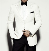 Wholesale Cheap Mens White Wedding Suits - White Mens Suits for Wedding 2017 Peaked Lapel Two Piece Groom Tuxedos Cheap Custom Made Slim Fit Tuxedo (Suit+Pants+Tie))
