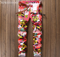 Wholesale Mens Luxury Slim Pants - Wholesale- new Nightclub style mens jeans luxury brand men jeans trousers colorful print Slim Straight zipper jeans pants for men pink bl