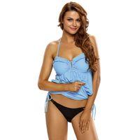 Wholesale Swim Halter Dress - S,M,L,XL,XXL,XXXL Royal Blue Light Blue Blue Rosy Halter Bikini Top One Piece Adjustable Swim Dress