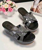 Barato Cinzento, Verão, Cunhas-Yuf16 Daily Footwear Summer Slide Loafers Estilo Grey De couro genuíno Wedge Platform Slippers Sandálias Ladies Women Shoes Sz 34-39