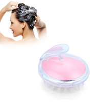 Wholesale Hair Brush Cleaner Pink - Massager Brush Hair Comb Silicone Body Washing Shampoo Cleaning Bathroom Bathing Tool Blue Pink Color Hot