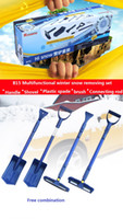 Wholesale Car Ice Shovel - Snow and ice tool set car home Snow shovel Ice shovel Water scraper ABS stainless steel handle Multi-function free combination big size DHL