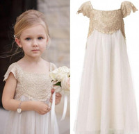 Wholesale Tulle Flower Girl Empire - 2017 Vintage Flower Girl Dresses for Bohemia Wedding Cheap Floor Length Cap Sleeve Empire Champagne Lace Ivory Tulle First Communion Dresses