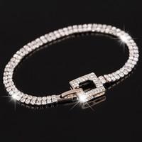 Wholesale Crystal Pave Bracelets - Rose gold Classic Crystal Pave Link Bracelet Bangle Fashion Full Rhinestone Jewelry for Women Free Shipping B040