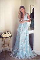 Wholesale Simple Floral Prom Dresses - New Elegant Light Blue Lurelly Prom Dresses 2017 Deep V Neck Floral Appliques Zipper Back Floor Length Evening Gowns