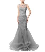 soiree robe denizkızı gece elbisesi toptan satış-Mükemmel Mermaid Abiye Illusion Boncuklu Kristal Tül Sequins Sheer 2018 Seksi Uzun Parti Gelinlik Modelleri Pageant elbise Robe De Soiree