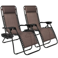 Wholesale Wicker Rattan Outdoor - Zero Gravity Chairs Case Of (2) Lounge Patio Chairs Outdoor Yard Beach- Brown