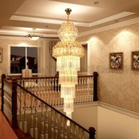 Wholesale Crystal Rotary Led - BE43 European Crystal Chandelier Long Pendant Lamps Droplights Lighting For Luxury Hotel Lobby Rotary Staircase Duplex Villa Living Room