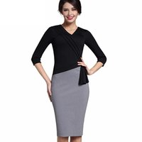 Wholesale Elegant Mature Woman - New Mature Elegant V-neck Warm Stylish Wiggle Work dress Office Bodycon Female 3 4 Sleeve Sheath Woman Dress DK010YS
