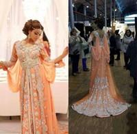 ingrosso elegante arabica caftan abayas-Abiti arabi Kaftan Abaya eleganti abiti da sera con paillettes in rilievo Appliques abiti lunghi in chiffon con abiti da ballo Dubai Celebrity Prom Dresses