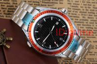 satan çelik toptan satış-Sıcak satış Lüks Yeni Dalış Otomatik Mekanik Erkek Spor Paslanmaz çelik Bilezik Turuncu Çerçeve Siyah Kauçuk Saatler James Bond 007 Tarzı
