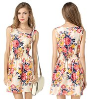 Wholesale Cheap Empire Waist Mini Dresses - 19 Colors For Your Choice Printing Short Dres For Women Sleeveless S-XL With Cheap Price Shaped Waist Girlfriends Matching Clothing