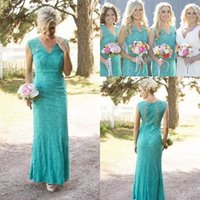 Wholesale Lace Bridemaid Dresses Cheap - 2017 Cheap Country Bridesmaid Dresses V Neck Full Lace Maid of Honor Gowns Green Sheath Wedding Guest Wear Party Dresses Long Bridemaid