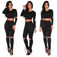 Wholesale Wholesale Women Outfit - Wholesale- Crop Top High Waist Pencil Long Pants Two Piece Outfit Fitness Sportwear Women Work Out Skinny Sporting Suits Ladies Overalls