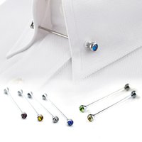 Wholesale Silver Rhinestone Men Shirt Collar Pin Bar Brooch Tie Stick Lapen Pin Shirt with Collar Bars Jewelry tie pin