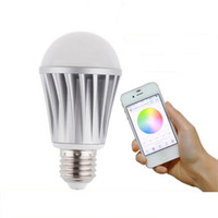 Wholesale Led Apple Lamp - LED wifi smart bulbs lamp led E27 7.5W Apple android control RGBW Wireless lamp colorful lighting