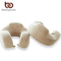 Wholesale Upgraded Memory - Wholesale- BeddingOutlet U-Shaped Travel Pillow Upgraded Memory Foam Neck Pillow Super Soft Head Rest Slow Rebound for Nap Health Care